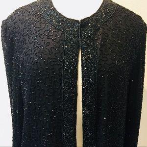 MARINA Jackets & Coats - NWT Black Beaded Detailed Statement Dress Jacket